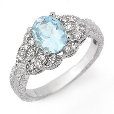 Genuine 1.55 ctw Aquamarine & Diamond Ring 14K Gold