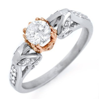 Natural 0.90 ctw Diamond Ring 14K Multi tone Gold
