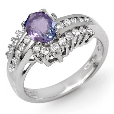 Genuine 1.50ct Tanzanite & Diamond Ring 14K White Gold