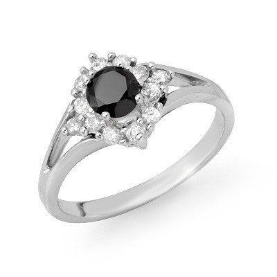Natural 0.85 ctw White & Black Diamond Ring 10K Gold