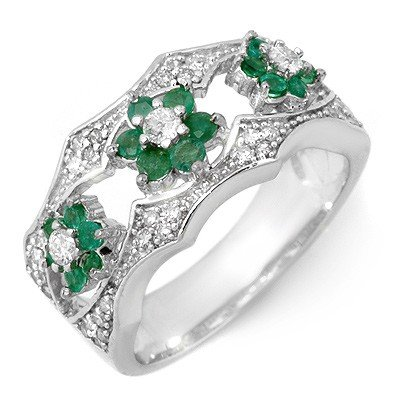 Genuine 0.85 ctw Emerald & Diamond Ring 14K White Gold