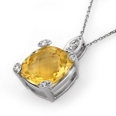 Genuine 7.10 ctw Citrine & Diamond Necklace White Gold