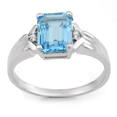 Genuine 2.03 ctw Blue Topaz & Diamond Ring 10K Gold