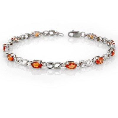 Genuine 3.51ctw Orange Sapphire & Diamond Bracelet Gold