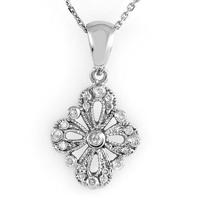 Natural 0.25 ctw Diamond Necklace 14K White Gold