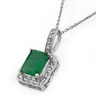 Genuine 1.75 ctw Emerald & Diamond Necklace White Gold