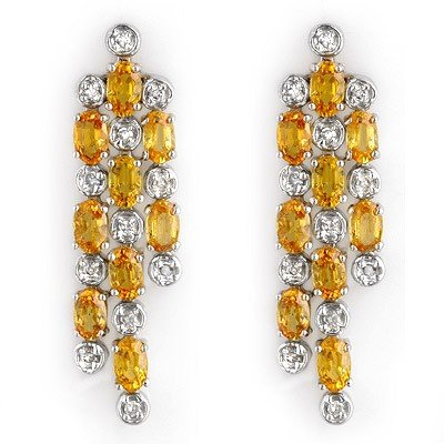 Genuine 6.33ctw Yellow Sapphire & Diamond Earrings Gold