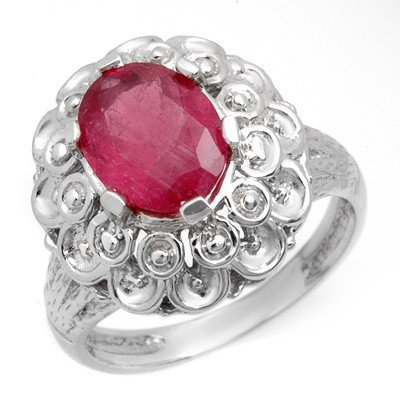 Genuine 2.25 ctw Ruby Ladies Ring 10K White Gold