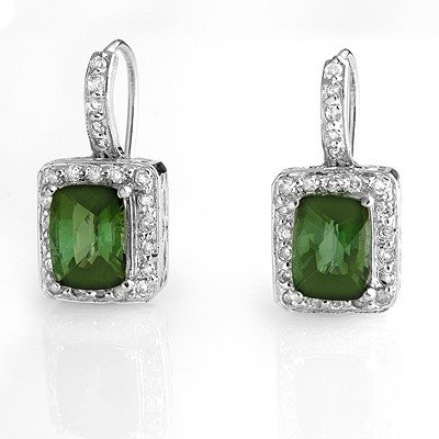 Genuine 3.5ctw Green Tourmaline & Diamond Earrings Gold
