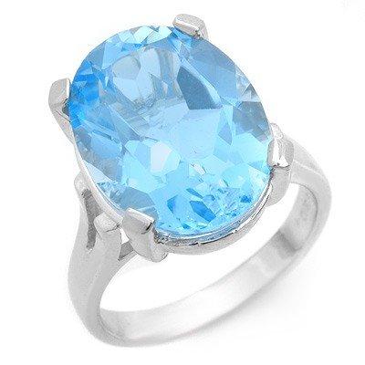 Genuine 14 ctw Blue Topaz Ring 10K White Gold
