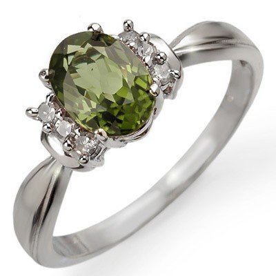 Genuine 1.06 ctw Green Tourmaline & Diamond Ring Gold
