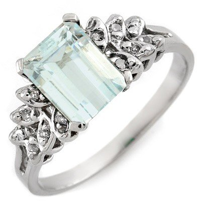 Genuine 2.12 ctw Aquamarine & Diamond Ring 10k Gold