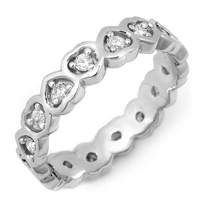 Natural 0.50 ctw Diamond Eternity Ring 10K White Gold