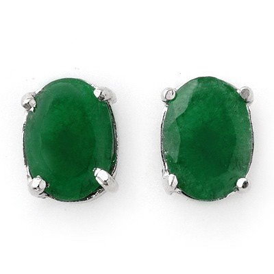 Genuine 2.0 ctw Emerald Stud Earrings 14K White Gold