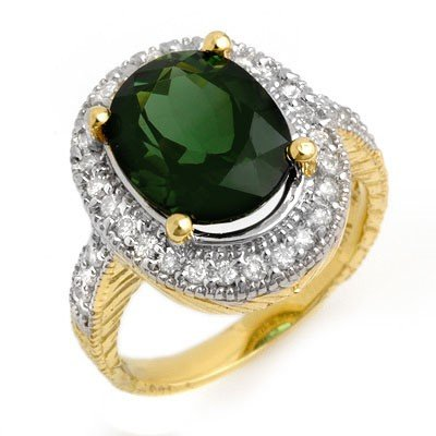 Genuine 6.05 ctw Green Tourmaline & Diamond Ring Gold