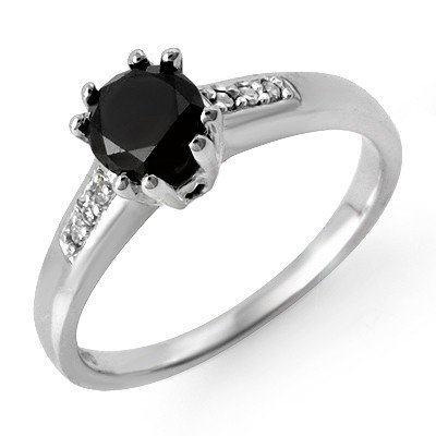 Natural 1.10 ctw White & Black Diamond Ring 14K Gold