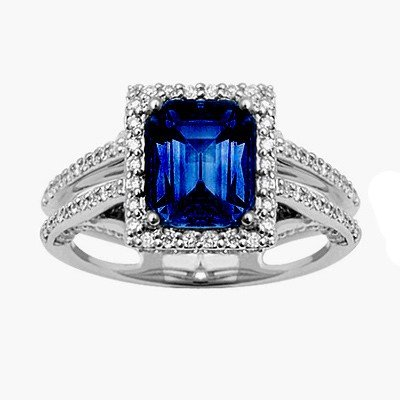 GENUINE 2.2 ctw DIAMOND and BLUE SAPPHIRE RING 14K WHIT