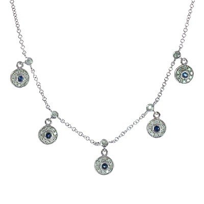 GENUINE 0.85 ctw DIAMOND and BLUE SAPPHIRE NECKLACE 14K