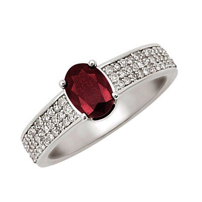 GENUINE 1.35 ctw DIAMOND and RUBY RING 14K WHITE GOLD