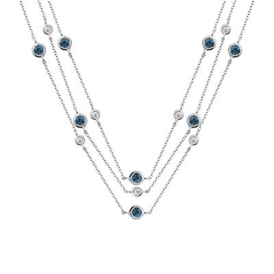 GENUINE 1.15 ctw DIAMOND and BLUE SAPPHIRE NECKLACE 14K