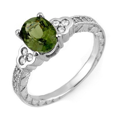 Genuine 2.27 ctw Green Tourmaline & Diamond Ring Gold