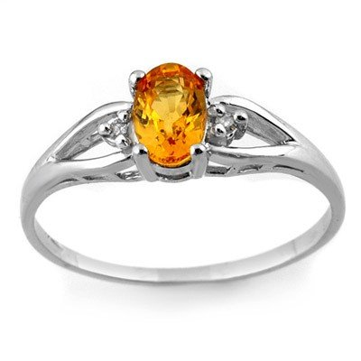 Genuine 0.77 ctw Yellow Sapphire & Diamond Ring 10K Whi