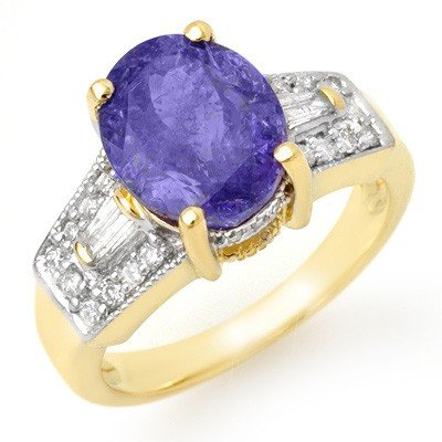Genuine 5.55ctw Tanzanite & Diamond Ring 10K Yellow Gol