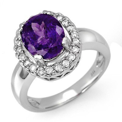 Genuine 3.9 ctw Tanzanite & Diamond Ring 10K Gold
