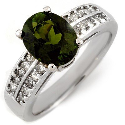 Genuine 3.0ctw Green Tourmaline & Diamond Ring 14K Gold