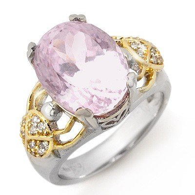 Genuine 9.20 ctw Pink Kunzite & Diamond Ring White Gold