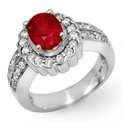 Genuine 2.25 ctw Ruby & Diamond Ring 14K White Gold