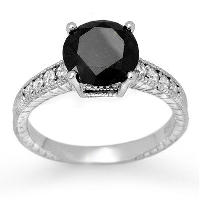 Natural 3.0 ctw White & Black Diamond Ring 14K Gold