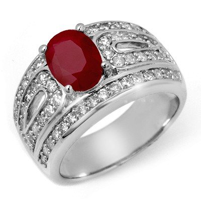 Genuine 2.79 ctw Ruby & Diamond Ring 14K White Gold