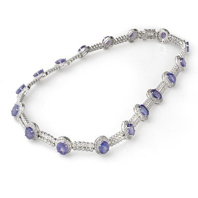 Genuine 45 ctw Tanzanite & Diamond Necklace 14K Gold