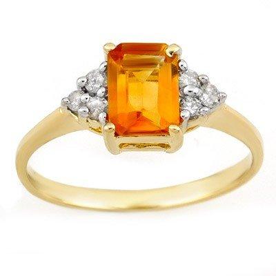 Genuine 1.12 ctw Citrine & Diamond Ring 10K Yellow Gold