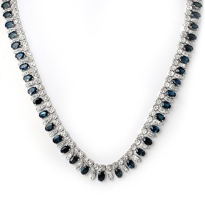 Genuine 39 ctw Sapphire & Diamond Necklace 14K Gold