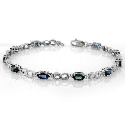 Genuine 3.51 ctw Blue Sapphire & Diamond Bracelet Gold