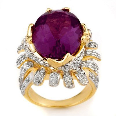 Genuine 13.75 ctw Amethyst & Diamond Ring Yellow Gold