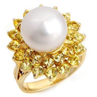 Genuine 3.0 ctw Yellow Sapphire & Pearl Ring 10K Yellow