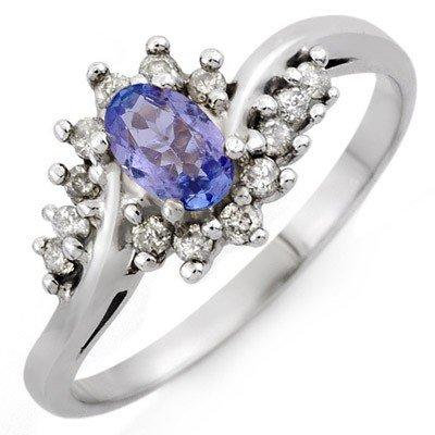 Genuine 0.55ctw Tanzanite & Diamond Ring 10K White Gold