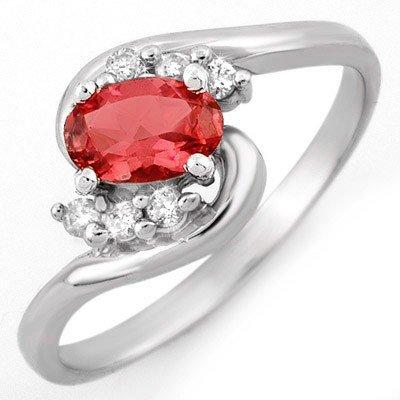 Genuine 0.50ctw Pink Tourmaline & Diamond Ring 10K Gold