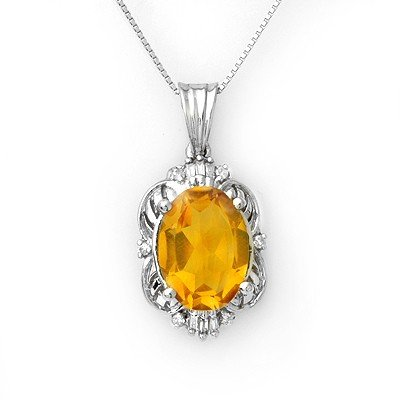 Genuine 5.80 ctw Citrine & Diamond Necklace White Gold