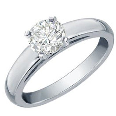 Natural 1.0 ctw Solitaire Diamond Ring 14K White Gold