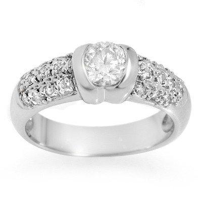 Natural 1.0 ctw Diamond Ring 14K White Gold