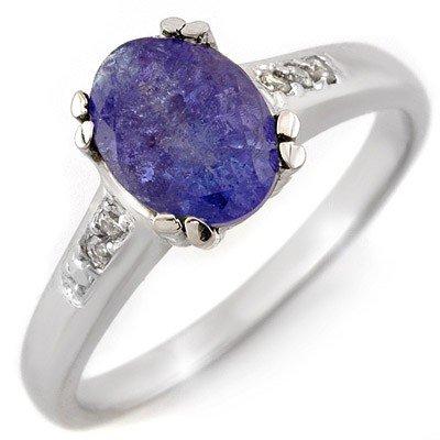 Genuine 1.35ctw Tanzanite & Diamond Ring 10K White Gold