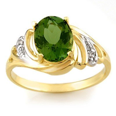 Genuine 2.54 ctw Green Tourmaline & Diamond Ring Gold
