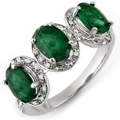 Genuine 2.58 ctw Emerald & Diamond Ring 10K White Gold