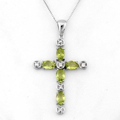 Genuine 2.15 ctw Peridot & Diamond Necklace White Gold