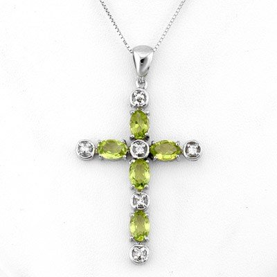Genuine 2.15 ctw Peridot & Diamond Necklace White Gold