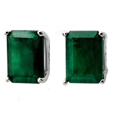 Genuine 2.60 ctw Emerald Stud Earrings 14K White Gold